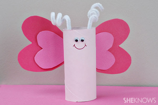 Super cute heart butterfly tissue roll craft