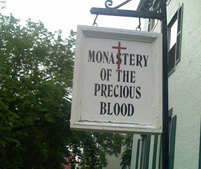 Sign reading, Monastery of the Precious Blood