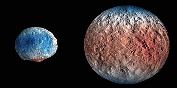 Images of asteroid Vesta and dwarf planet Ceres...with hydrogen data (shaded in red) taken by NASA's Dawn spacecraft overlaid on both celestial bodies.