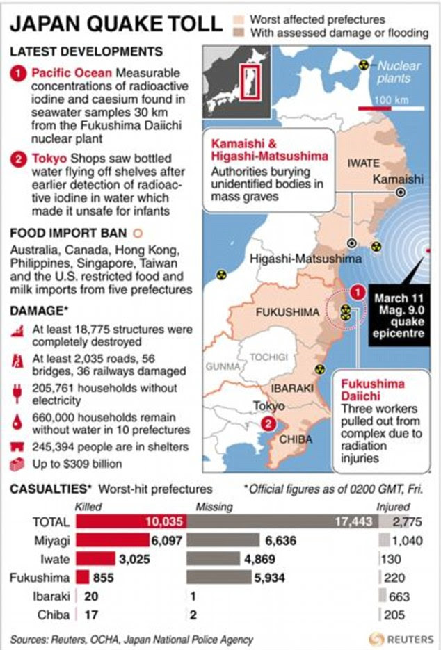 Detailed map with charts and factbox locating damage and deaths caused by a powerful earthquake
