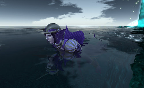 purple fishman looking out of the water