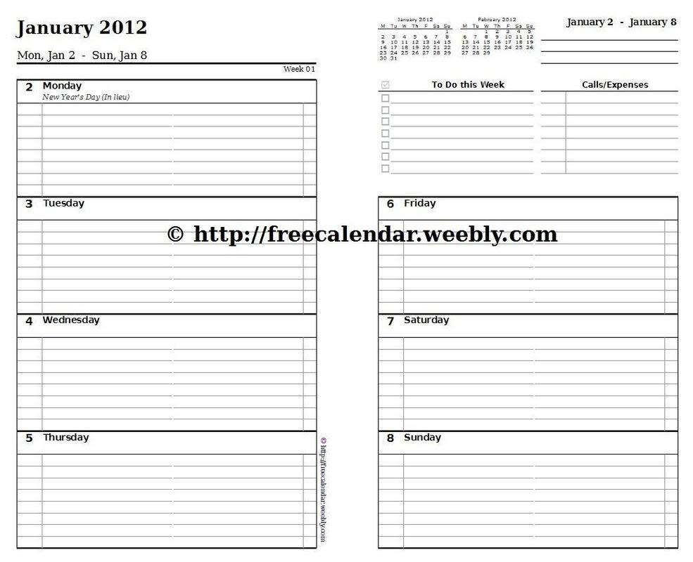 calendar template 5.5 x 8.5 - Calendar