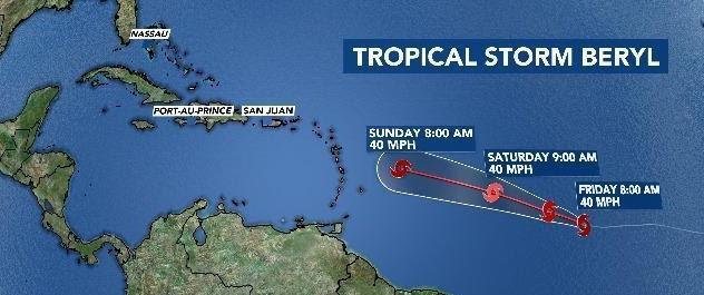 Resultado de imagen para Beryl degenera a tormenta tropical