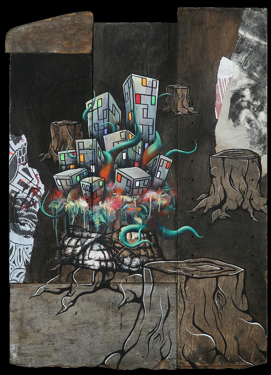 "Mending the Stumped 48""x35"" mixed media original painting"