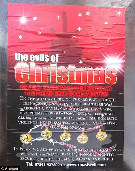 Outrage: The poster that has appeared in the Tower Hamlets area hitting out at the festive period