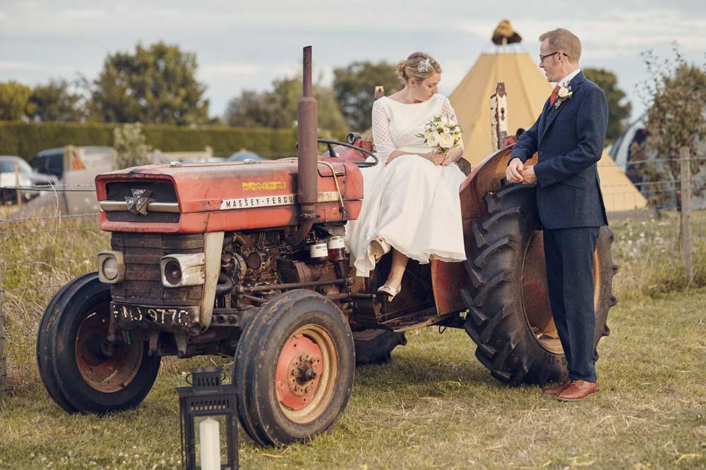 Bride and Groom on Tractor in Cambridge - www.helloromance.co.uk