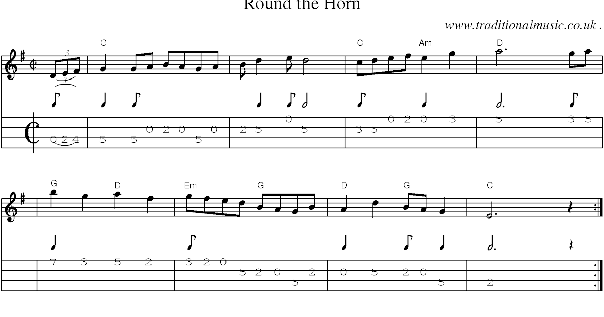 RISK: Round the horn, sheet music and Mandolin Tab, guitar chords