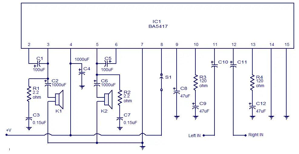 stereo amplifier circuit BA5417