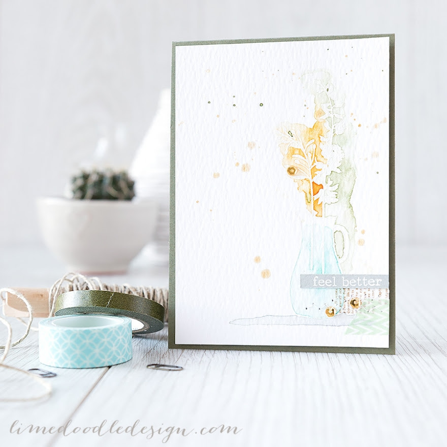 For more please visit  http://limedoodledesign.com/2015/02/feel-better/ Debby Hughes - Lime Doodle Design #card #watercolor #watercolour