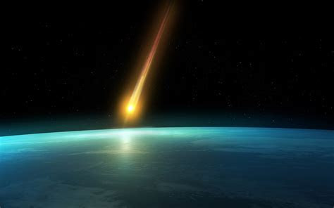 Falling Comet In The Earth's Atmosphere Background Hd