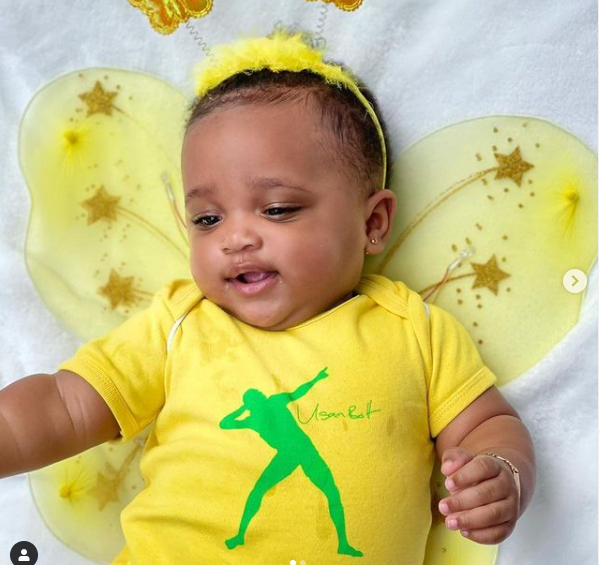 Usain Bolt shares adorable photos of his baby daughter Olympia Lightning Bolt at 8-months