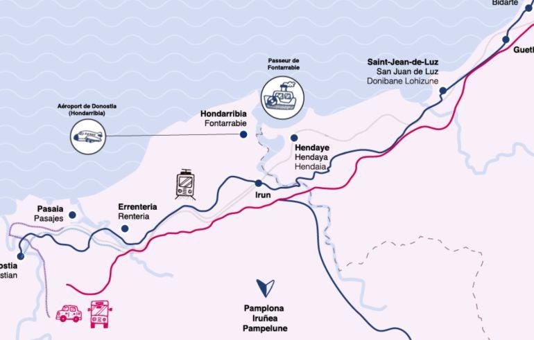 Mapa de conexiones entre los territorios de la Eurorregión.