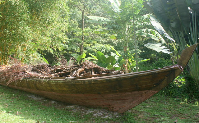 A mysterious boat stranded inland far from the sea