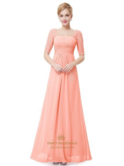Elegant Peach Long Chiffon Bridesmaid Dresses With Lace