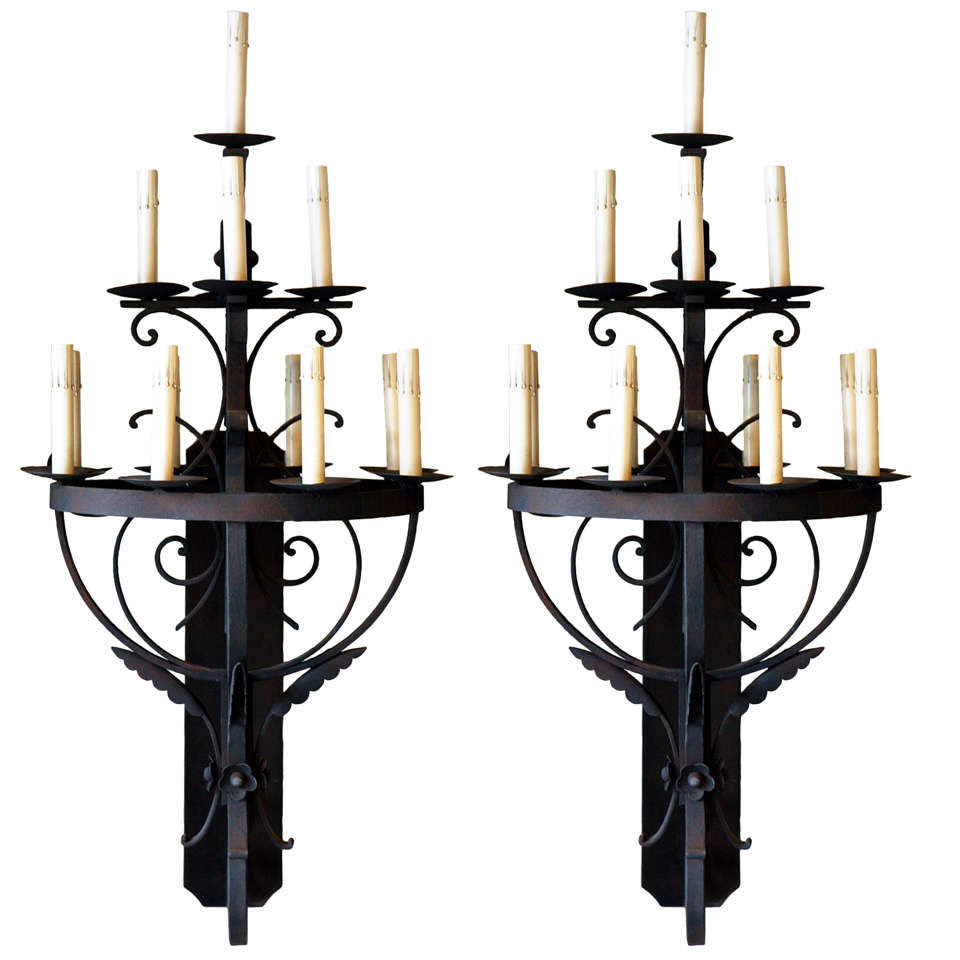 Pair of Iron Wall Sconces at 1stdibs