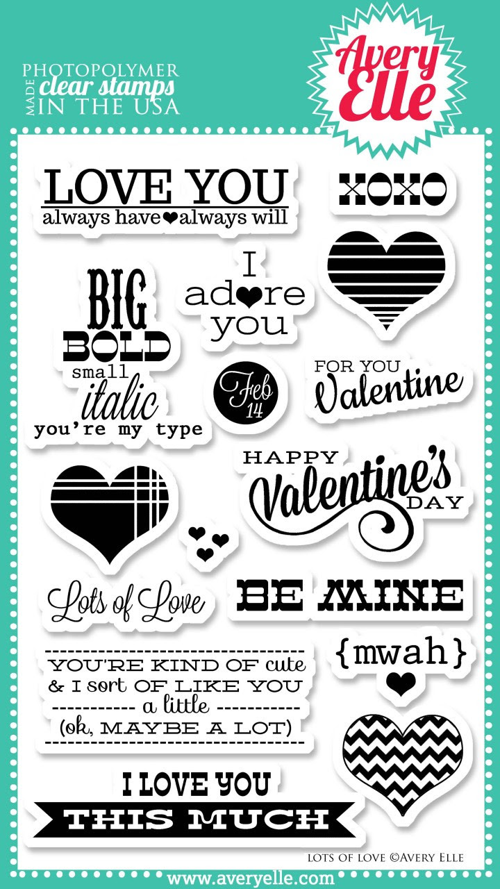"""Our Lots of Love 4"""" x 6"""" clear photopolymer stamp set is perfect for Project Life projects,making cards or scrapbook pages your favorite Valentine.  The fresh sentiments in this set are sure to be used time and again."""