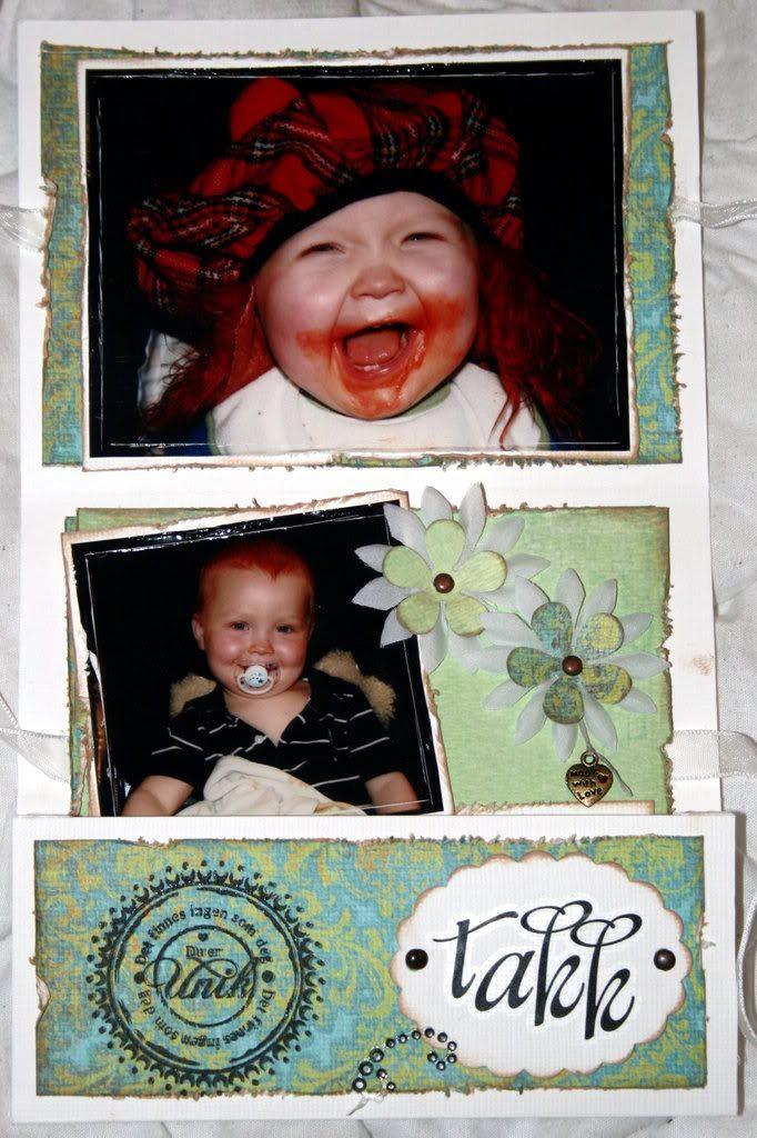 Innsiden av mappekortet... bilder av Kevin og en liten hilsen...