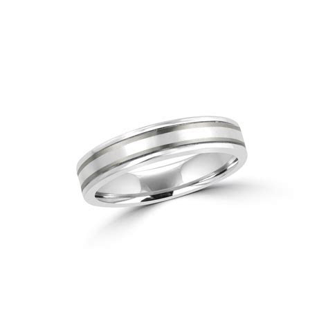 5mm Matt and Polished Titanium and Platinum Wedding Ring