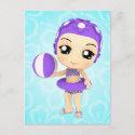 Chibi Girl Pool Party Postcard postcard