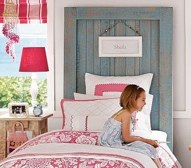 cabecero cama puerta pintada reciclada