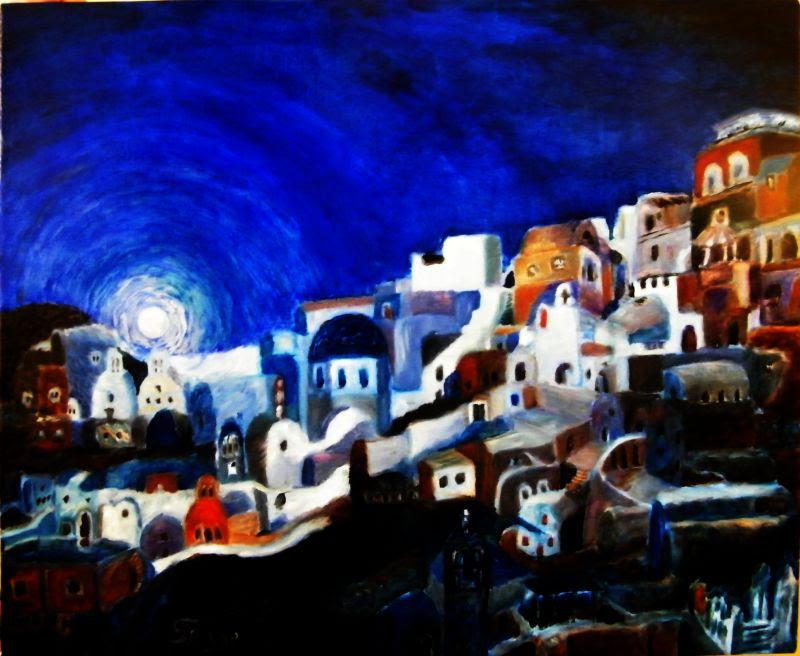 Santorin la nuit, peintur de Serge Boisse