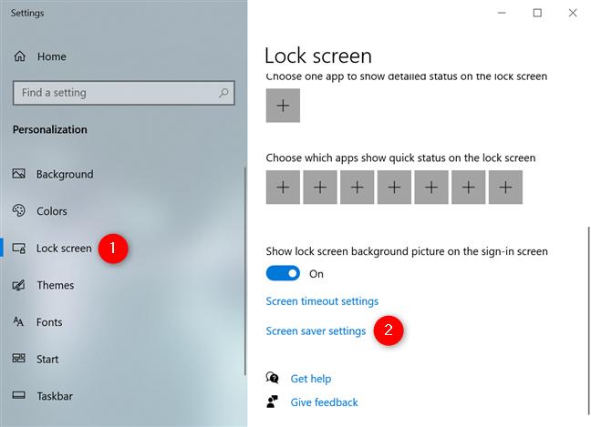 Acceda al enlace de configuración del protector de pantalla desde la pestaña Pantalla de bloqueo