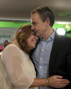 La secretaria general del PSOE andaluz y presidenta de la Junta, Susana Díaz, y el expresidente del Gobierno José Luis Rodríguez Zapatero participan en un acto de partido que conmemora el décimo aniversario de la aprobación de la Ley de Dependencia, hoy e