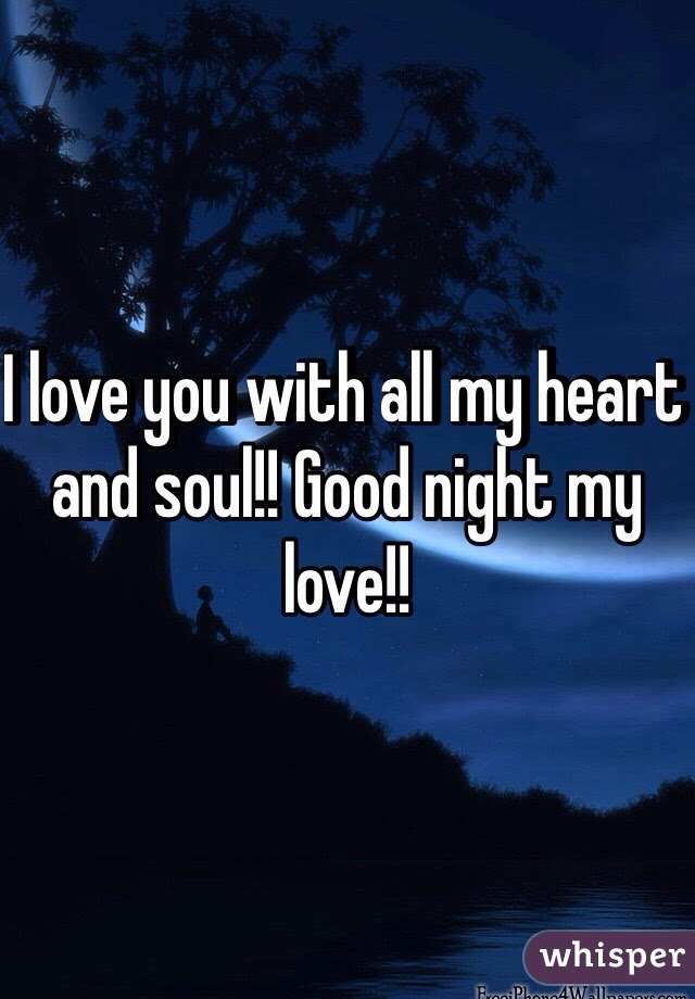 I Love You With All My Heart And Soul Good Night My Love