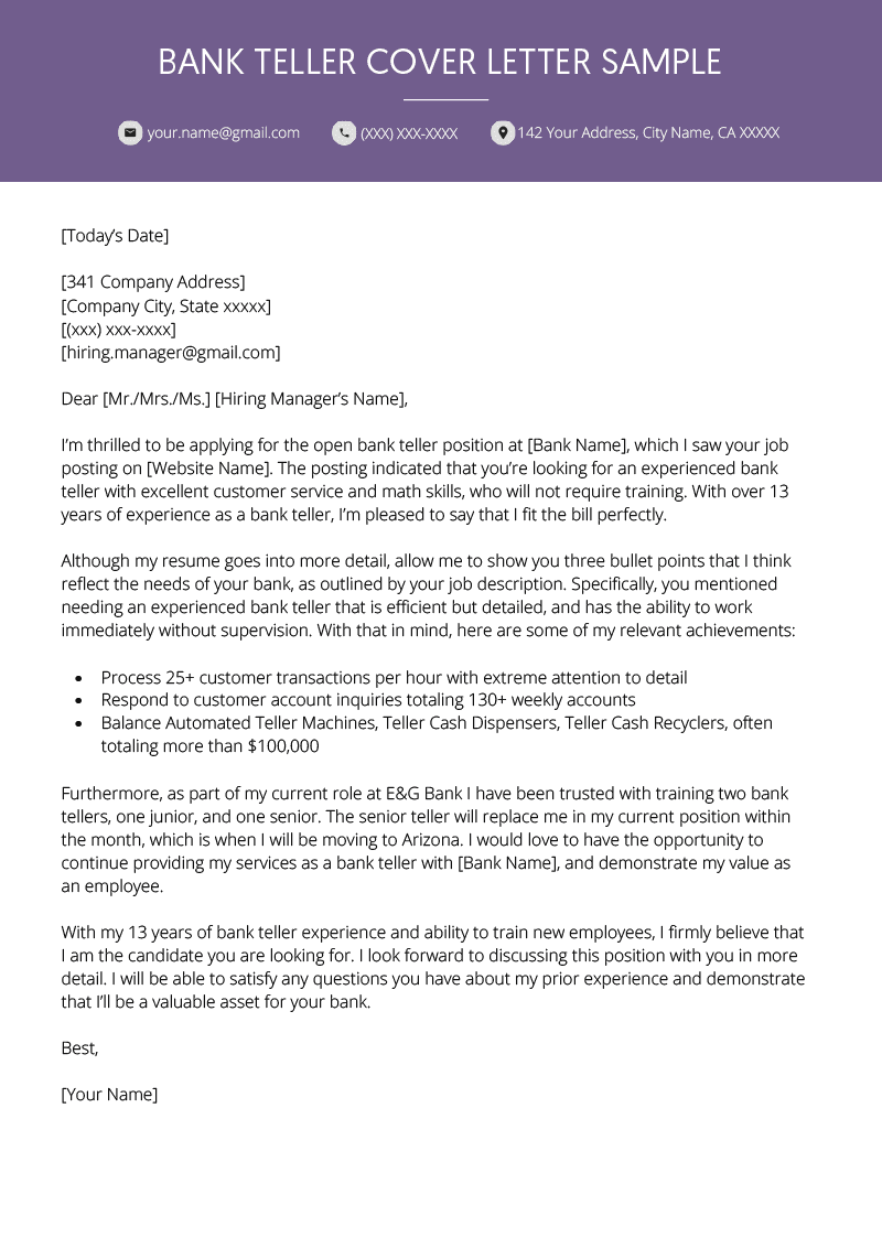 Bank Teller Cover Letter Example Resume Genius