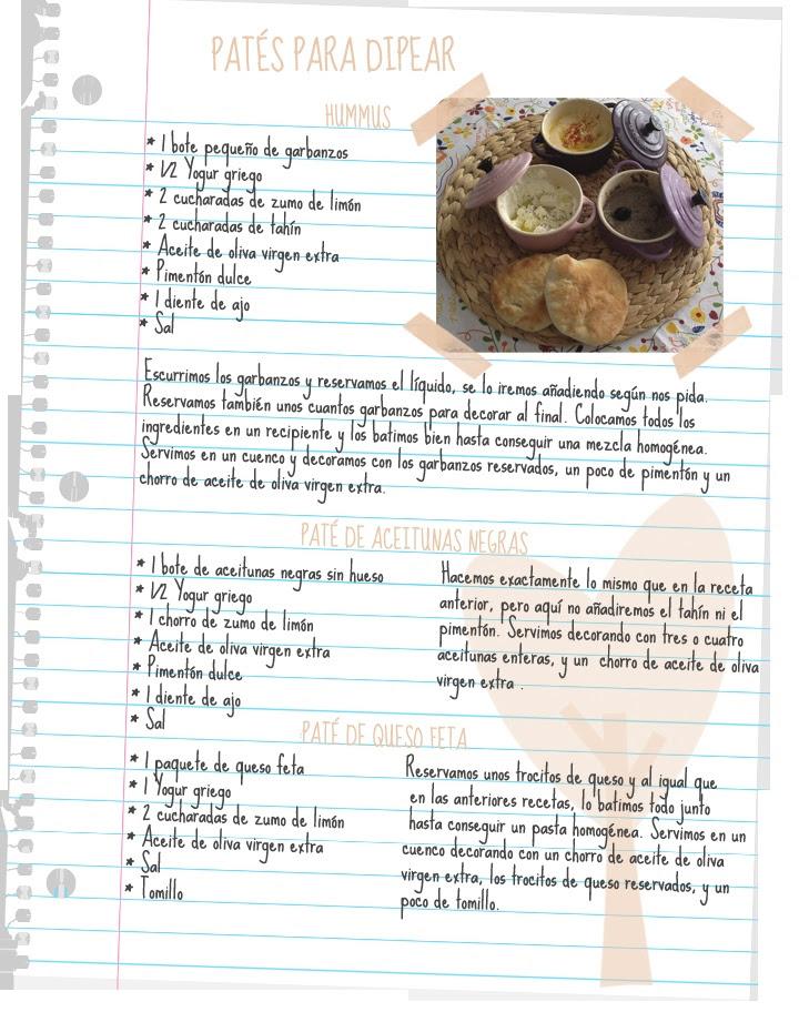 Receta en español de hummus, paté de aceitunas negras y paté de queso feta by Wayaiulandia.