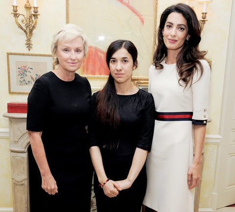 Tina Brown, Nadia Murad and Amal Clooney attend the Women in the World reception honoring appointment of U.N. Office on Drugs and Crime Goodwill Ambassador Nadia Murad on September 16, 2016, in New York City.