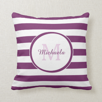 Trendy Purple and White Stripes Monogram With Name Pillow