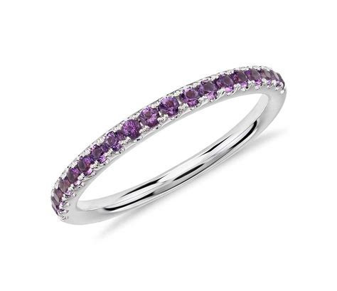 Riviera Pavé Amethyst Ring in 14k White Gold (1.5mm