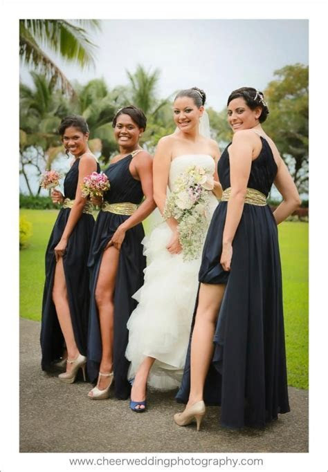 Dark Navy / midnight blue bridesmaid dresses with gold