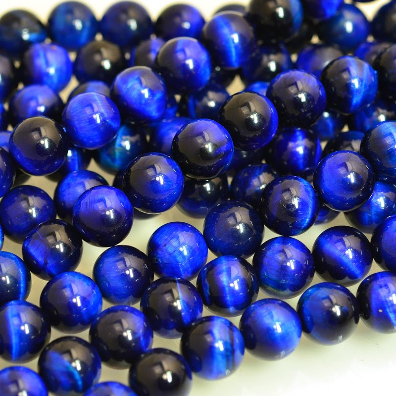 s48000 Stone Beads - 10 mm Round - Royal Blue Tigereye (Dyed)