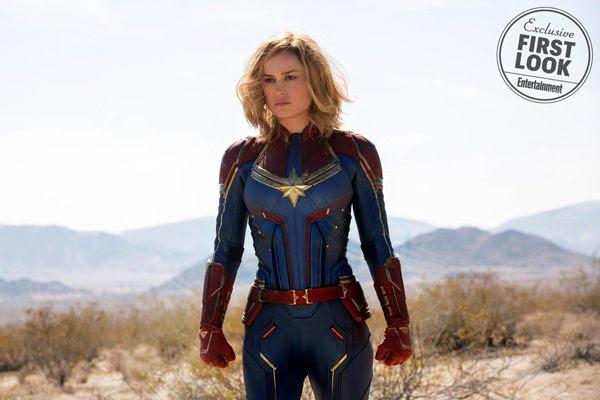 A promotional still of Carol Danvers (Brie Larson) in CAPTAIN MARVEL.