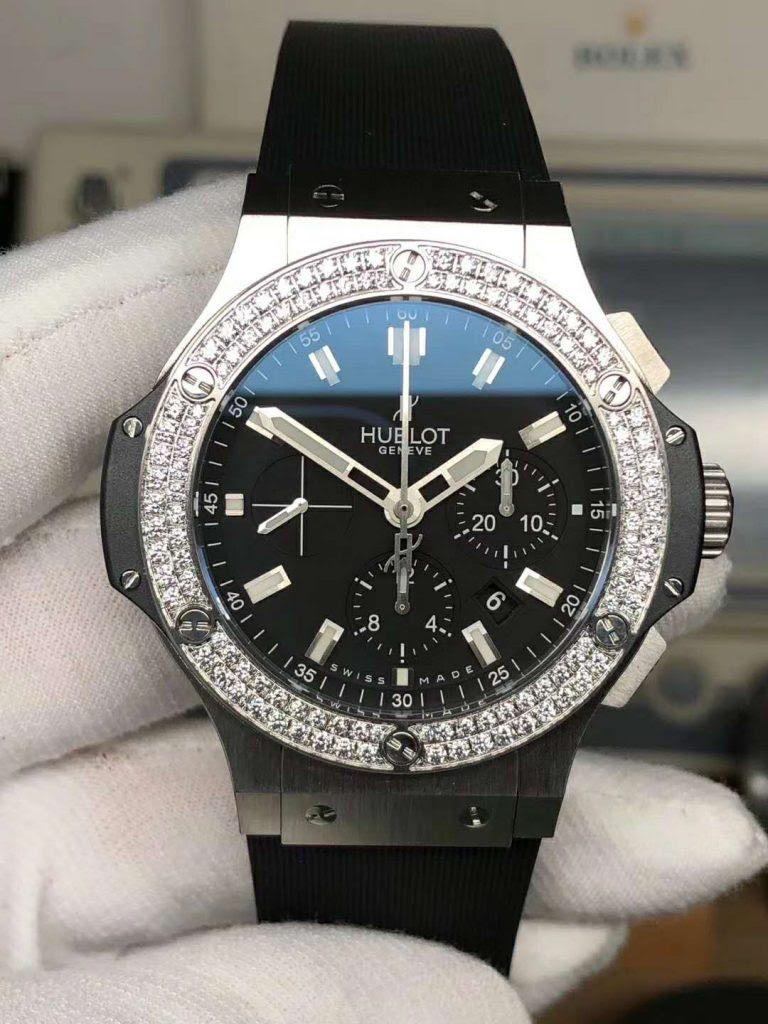 Replica Hublot Diamond Watch Black Dial