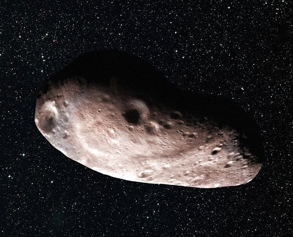 An artist's concept of 2014 MU69, New Horizons' next flyby target in early 2019, as a single but elongated object.