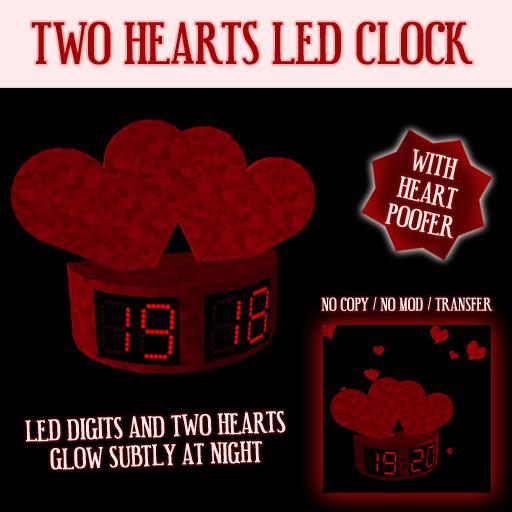 Two Hearts LED Clock