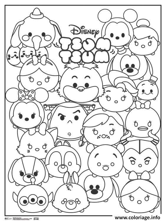 Coloriage Tsum Tsum Disney Personnages Jecoloriecom