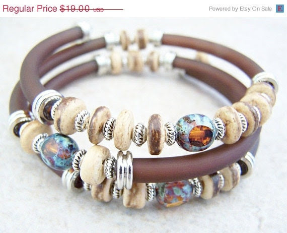CIJ SALE Memory Wire Bracelet,  Brown Rubber Cord Cuff - FeralsPassageGifts