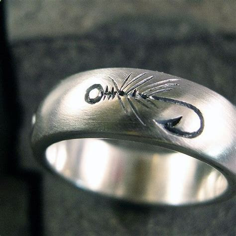 Fly Fishing Ring Wedding Band Sterling by Chris Mueller