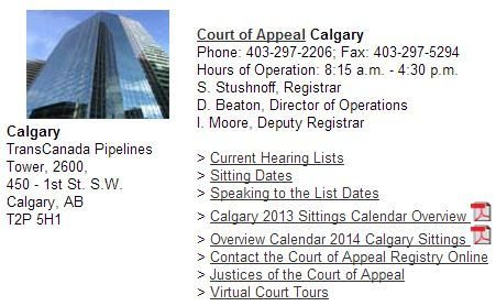 2013 12 21 Screen capture of Alberta Court of Appeal Calgary location
