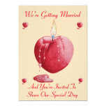 romantic love heart shaped red candle art wedding 5x7 paper invitation card