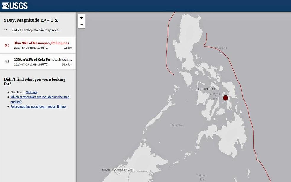Mapa do USGS mostra local de terremoto nas Filipinas (Foto: Reprodução / USGS)