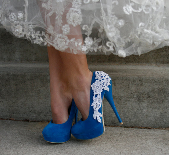 Turquoise Heel With Venise Lace Applique by walkinonair on Etsy