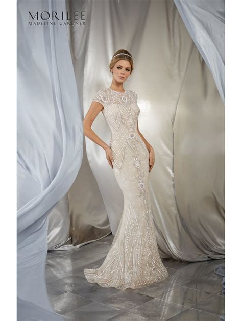 Mori Lee 6869 Musidora Gatsby Beaded Sheath Style Bridal Gown