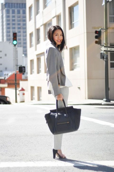 "How to Wear a Blazer: Go the Monochromatic Route for the Office  Getting dressed for work doesn't have to be a bore. ""A cool gray blazer is ideal for an everyday office look. I paired mine with a flirty peplum top and sleek tailored trousers for a tone-on-tone look.""  —Anh Sundstrom, 9 to 5 Chic"