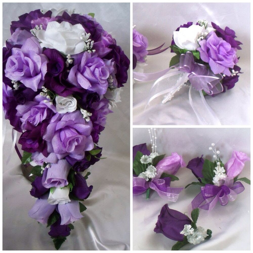 Wedding Bridal Bouquet Cascading Lavender Purple Lily Silk Flowers  eBay