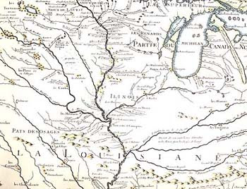 "Detail from ""Carte de la Louisiane et du cours du Mississipi"" (map by Guillaume Delisle, 1718) ""Our Illinois [Indians] inhabit a very pleasant country. . . . the great rivers which water it, the vast and dense forests, the delightful prairies, the hills covered with very thick woods, --all these features make a charming variety."" (Gabriel Marest, 1712). Image Courtesy of museumlinkIllinois."